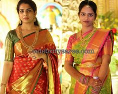 Exclusive Collection of Indian Celebrity Sarees and Designer Blouses Indian Bridal Sarees, Wedding Silk Saree, Pattu Saree Blouse Designs, Bridal Blouse Designs, Indiana, Mom And Daughter Matching, Mom Daughter, Silk Saree Kanchipuram, Silk Sarees