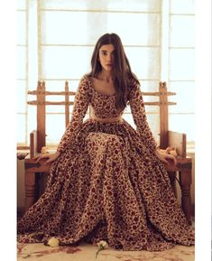 Items similar to hand block block block printed floral indian lehenga set in cotton on etsy - This cream, ocher and red floral Lehenga set includes a Lehenga skirt and blouse. Dress Indian Style, Indian Fashion Dresses, Indian Designer Outfits, Pakistani Dresses, Designer Dresses, Fashion Outfits, Pakistani Fashion Casual, India Fashion, Fashion Clothes