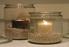 Candles and beans.