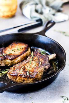 Cast Iron Skillet Pork Chops ( Easiest Recipe Ever) Pork Loin Ribeye Chops Recipe, Butterflied Pork Chops, Pork Chops Cast Iron, Skillet Pork Chops, Juicy Pork Chops, Thick Pork Chop Recipe, Easy Pork Chop Recipes, Pork Recipes, Seafood Recipes