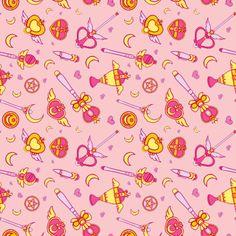 Moonie Weapons (Horizontal) Pink fabric by rae-lynn on Spoonflower - custom fabric