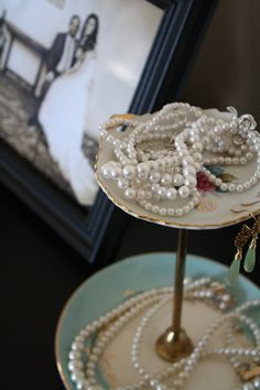 Vintage plates made into a tiered jewelry stand
