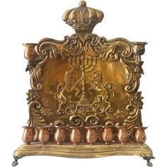 An Antique late 19th century Copper made Hanukkah Menorah.  This Menorah is known as the Baal Shemtov Type and is a typical Polish Warsaw made. This
