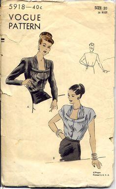 Vintage Original Vogue Blouse Pattern No. Vintage Vogue Patterns, Patron Vintage, Vintage Outfits, Vintage Fashion, Retro Pattern, Pattern Ideas, Moda Vintage, Vestidos Vintage, Blouse Vintage