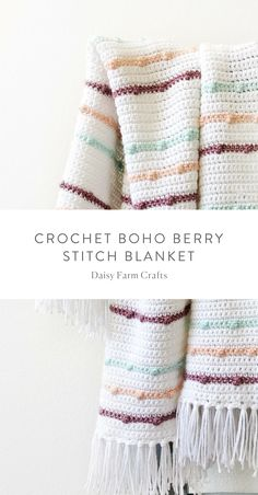 49 Ideas For Crochet Blanket Boho Yarns Modern Crochet Blanket, Baby Girl Crochet Blanket, Crochet For Beginners Blanket, Afghan Crochet Patterns, Crochet Afghans, Crochet Stitches, Knitting Patterns, Beginner Crochet, Baby Afghans