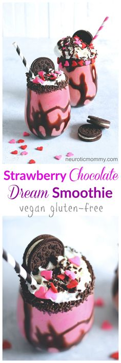 Strawberry Chocolate Dream Smoothie - An indulgent smoothie perfect for last minute romantic recipe for those sweet people in your life. NeuroticMommy.com #valentinesday #love #vegan #smoothie