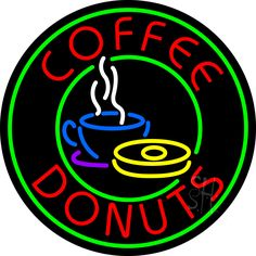 Round Coffee Donuts Neon Sign 26 Tall x 26 Wide x 3 Deep, is 100% Handcrafted with Real Glass Tube Neon Sign. !!! Made in USA !!!  Colors on the sign are Green, Red, White, Blue, Yellow and Purple. Round Coffee Donuts Neon Sign is high impact, eye catching, real glass tube neon sign. This characteristic glow can attract customers like nothing else, virtually burning your identity into the minds of potential and future customers.