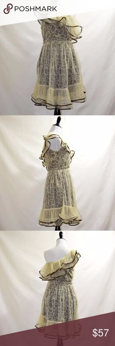 NWT Modcloth Ryu off shoulder lace mini dress New with tag Modcloth Ryu  self: 65% cotton 35% polyester contrast, lining: 100% polyester  two layers dress brown bottom layer +  beige top layer off the shoulder mini dress  Small size romantic and cute style Ryu Dresses Mini