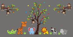 Check out our store if you would like to see lot's of different designs and layouts for your child's nursery room.  https://www.etsy.com/listing/265494049/nursery-wall-decals-safari-jungle?ref=shop_home_active_30 #safarinurserydecal