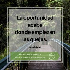 La oportunidad acaba donde empiezan las quejas. (Jack Ma) #lafrasedelasemana #alimentatubienestar