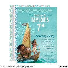 Moana and Maui on the Boat Birthday Invitation that's easy to personalize online, no DIY required, easy peazy! Happy Birthday Disney, Moana Birthday Party, Disney Princess Birthday, Birthday Party Themes, Birthday Cards, 3rd Birthday, Birthday Gifts, Birthday Frames, Birthday Stuff