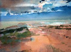 'The Sea near La Rochelle', Ian Potts, Watercolour Watercolor Sky, Watercolor Landscape, Landscape Paintings, Watercolor Paintings, Traditional Paintings, Watercolour Tutorials, Painting & Drawing, Illustration Art, Artwork