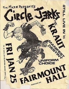 The Circle Jerks, Manifest Destiny and Uniform Choice | 35 Old Punk Flyers That Prove Punk Used To Be So Cool