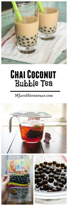 Chai Coconut Bubble Tea // MJ and Hungryman(Vegan Smoothies Chai) Refreshing Drinks, Summer Drinks, Fun Drinks, Healthy Drinks, Beverages, Bubble Tea, Tea Recipes, Cooking Recipes, Vegetarian Recipes