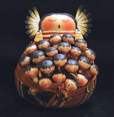 Storyteller gourd art figure by Robert Rivera