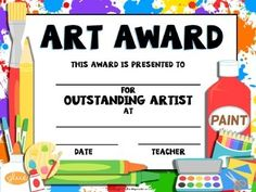Celebrate your students with this FREE Printable Art Award!Are you looking for GREATart projects? Check out these presentations. The work is already done for you! Art presentations that are READY TO GO! Happy Art Teaching! Be sure to FOLLOW ME for updates on new products!THE ELEMENTS OF ART COMPLETE UNIT(grades 3-8)LINE- Grades K-2SHAPES- Grades K-2COLOR- Grades K-2Sunflower Paintings (Art of Vincent van Gogh) Grades K-2Crazy Hair Day- Grades 2-6Art Word Wall(all grades)Henri Rousseau…