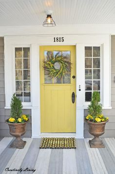 Front Door Colors For Tan House.Tan House With Red Door Painted Front Doors Best Front . My Little Bungalow: Color Selections: Front Door And Hallway. 42 Inviting Colors To Paint A Front Door DIY. Home and Family Paint Colors For Home, House Exterior, Front Porch Makeover, Door Makeover, Front Door, Front Door Makeover, Yellow Front Doors, Grey Houses, Exterior House Colors