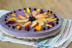 Well this is special! A gluten-free wild blueberry peach dairy-free cheesecake that will have you cartwheeling with joy! Paleo Dessert, Healthy Dessert Recipes, Gluten Free Desserts, Healthy Desserts, Real Food Recipes, Pie Recipes, Healthy Food, Healthy Sweet Treats, Yummy Treats