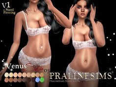 Sims 4 CC's - The Best: Skin & Navel Piercing by Pralinesims