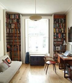 Totally doable in an apartment next semester. Bookshelves in corners, futon against wall, desk space across. Add some rugs, artwork, and more colorful pillows/comfy blanket and it would be perfect  Organization Inspiration: Neat & Beautiful Bookshelves