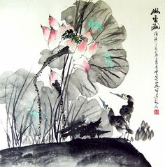 Lotus and Water Birds----------- - Chinese flower painting