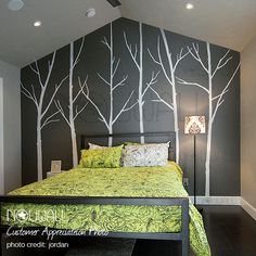 Winter Tree Wall decal  bedroom wall decal wall sticker vinyl art wall decor - 036