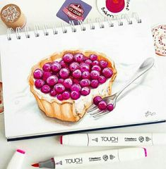 Copic Marker Art, Copic Art, Watercolor Food, Watercolor Paintings, Artist Cake, Sketch Note, Food Sketch, Food Painting, Color Pencil Art