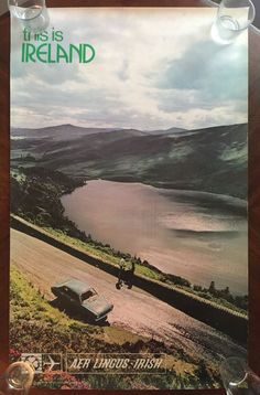 "VINTAGE AER LINGUS IRELAND TRAVEL TOURISM POSTER ""THIS IS IRELAND"" 40 x 25"""