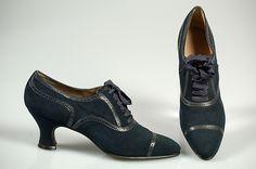 """""""VanderBiltmore Style"""": Ladies Oxfords, Designer: Thomas Date: ca. 1920's, Culture: British Medium: Leather."""