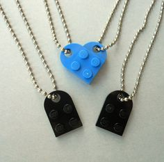 Lego Heart Couples Necklace Set  Friendship  - Boyfriend -  BFF - Girlfriend - Two FREE Lego Zipper Pull Charms & Gift Wrap. $12.00, via Etsy.