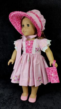 Sweet Juliette dress (Dollhouse Design pattern) and elaborate bonnet (MHD pattern) sewn by Shirley Fomby - Doll Clothes by Shirley SOLD