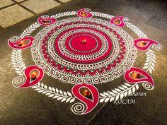 30 Creative Kolam Rangoli Designs for this Festival season Best Rangoli Design, Indian Rangoli Designs, Rangoli Designs Latest, Rangoli Designs Flower, Rangoli Border Designs, Small Rangoli Design, Rangoli Patterns, Colorful Rangoli Designs, Rangoli Ideas