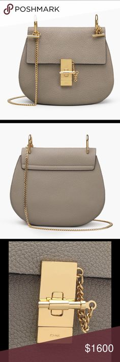 "Chloé Drew Shoulder Bag Chloé Drew Shoulder Bag. Still new with tag. Motty grey colour. Small grain calfskin. Carry: long shoulder or cross-body. Unique compartment, topstitched front flap, signature jewel lock, internal flat pocket, golden brass finishing, refined beige suede calfskin lining. Strap length: 20.5"". The curved saddle shape and soft leather emphasise sensuality. The sharp, modern lines are embellished by jewellery-inspired hardware in gold metal. Chloe Bags Crossbody Bags"