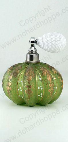 VINTAGE c.1930s-40s GILDED GREEN GLASS MELON FORM SCENT PERFUME ATOMISER SPRAY. This item is sold, to visit my website to see what's in stock click here: http://www.richardhoppe.co.uk or for help or information email us here: info@richardhoppe.co.uk