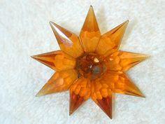 Large Beautiful Antique Vintage Amber Glass  Button Trim? Star Flower Design