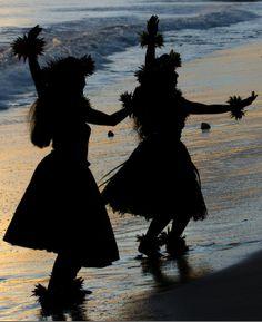 Hula Dancing in the Setting Sun