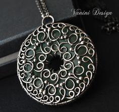 Secret Treasure - Fine/sterling Silver and green aventurine medallion pendant necklace