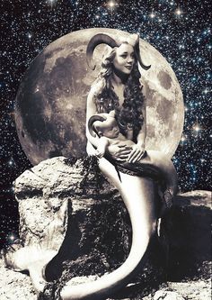 'Capricorn' Poster by kikicollagist Dark Photography, Vintage Photography, Vintage Art, Vintage Photos, Vintage Moon, Surealism Art, Art Ancien, Witch Art, Arte Horror