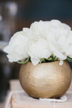 White roses + gold vase