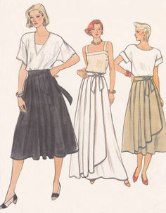 1980's Misses Pleated Wrap Skirt from Vogue Pattern, pattern #9018