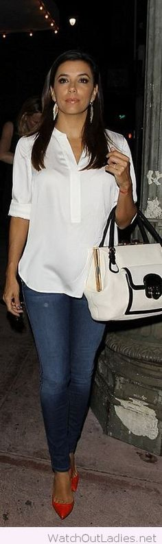 Jeans, white blouse and red high heels