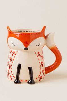 Wherever You Are, Be All There Fox Folk Art Mug