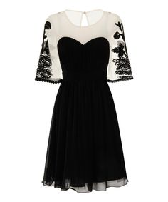 Look at this Black Embroidered A-Line Dress on #zulily today!