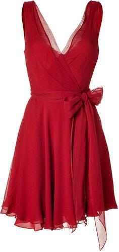 Ralph Lauren ~ Red Crinkle Silk Chiffon Jeanette Dress