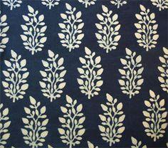 Hand Block Print, Cotton Fabric. Natural Indigo Dye