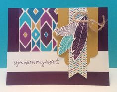 Four Feathers, Sheltering Tree, Bohemian dsp, Feathers framelits, & more - all from Stampin' Up!