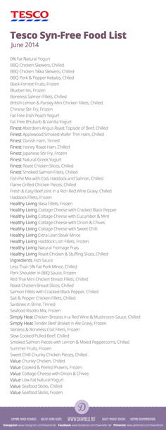#Tesco Syn-Free Shopping List on the #SlimmingWorld #ExtraEasy plan - June 2014