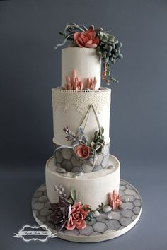 I made this cake for my mum's birthday, she loves succulents! I really enjoyed making this cake! Beautiful Wedding Cakes, Gorgeous Cakes, Pretty Cakes, Amazing Cakes, Geometric Cake, Baker Cake, Cake Templates, Just Cakes, Big Cakes