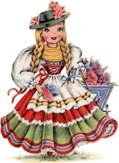 19 Retro Dolls of the World! - The Graphics Fairy Vintage Greeting Cards, Vintage Postcards, Vintage Images, Graphics Fairy, Mosaic Pictures, Thinking Day, Vintage Paper Dolls, Partys, Counted Cross Stitch Patterns
