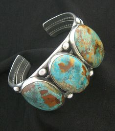 Frank Patania Jr. Thunderbird Shop sterling silver and natural Hachita Mine turquoise bracelet